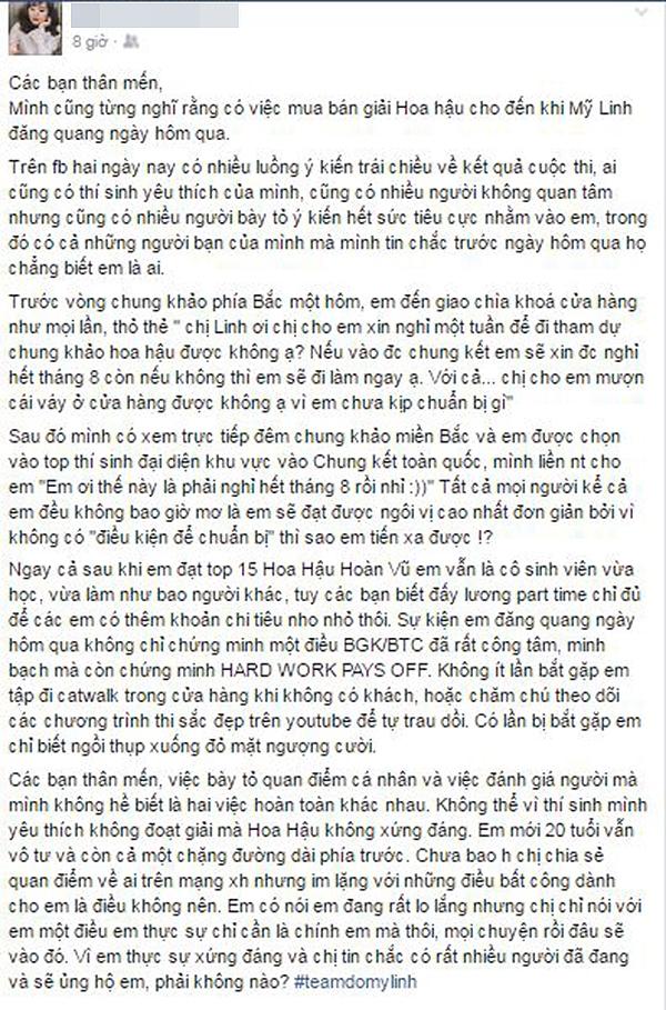 Dòng trạng thái của NTK Giao Linh về tân Hoa hậu Việt Nam 2016 đã thu hút nhiều sự chú ý từ công chúng. - Tin sao Viet - Tin tuc sao Viet - Scandal sao Viet - Tin tuc cua Sao - Tin cua Sao