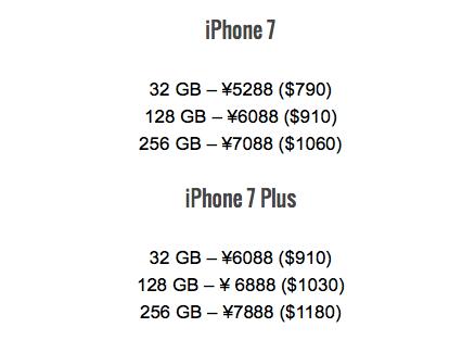 Giá bán cụ thể của iPhone 7 và iPhone 7 Plus. (Ảnh: internet)