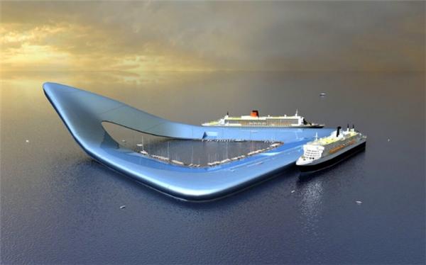 """""""Boomerang"""" là thiết kế khu du lịch biển đảo """"tự cung tự cấp"""", sử dụng năng lượng xanh để phục vụ cho việc di chuyển đồng thờilà bến cho tất cả các loại tàu thuyền ghé đến."""