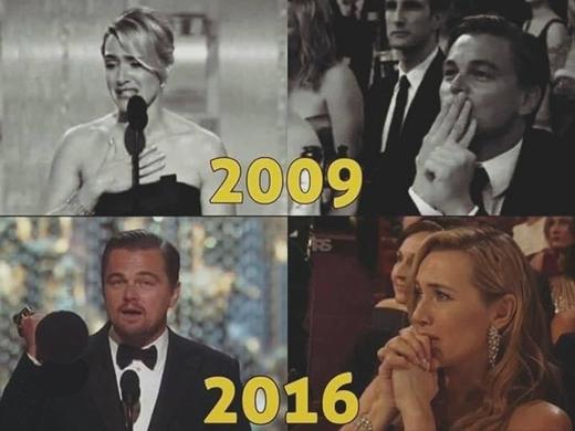 Leo năm ấy và Kate năm nay, cả hai đều cùng một biểu cảm mong chờ khi người bạn của mình được xướng tên giành giải thưởng cao quý.