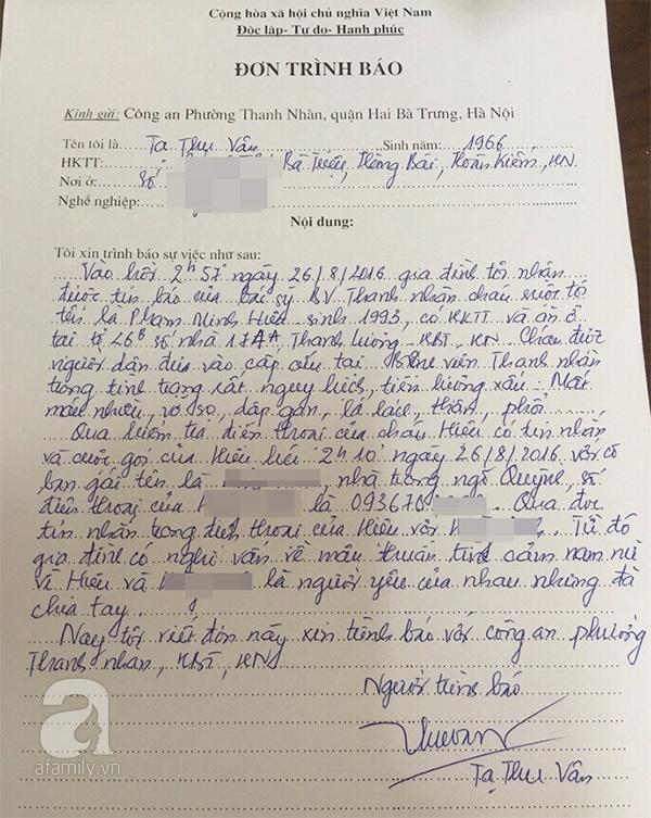 Dì của nạn nhân, côTạ Thu Vânđã viết đơn trình báo công an. (Ảnh: Afamily)