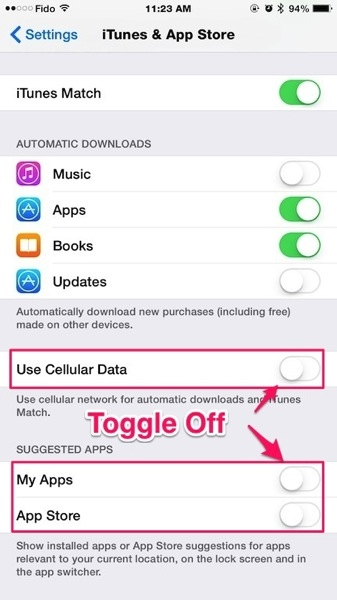 Gạt sang trái để tắt tính năng tự động cập nhật ứng dụng. (Ảnh: internet)