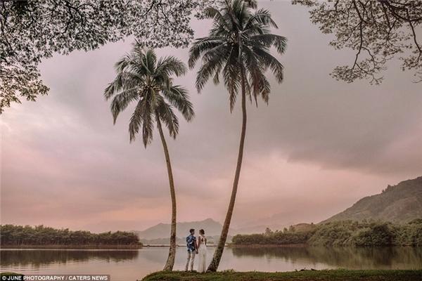 Bức ảnh cưới đầy mộng mơ này được chụp vào lúc hoàng hôn tại Kaneoha, Oahu, Hawaii.
