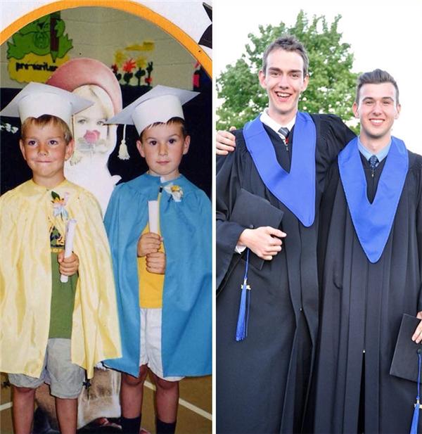 Đôi bạn thân cùng nhau học tập và lớn lên suốt mười mấy năm và vẫn luôn nở trên môi nụ cười rạng rỡ ấy.