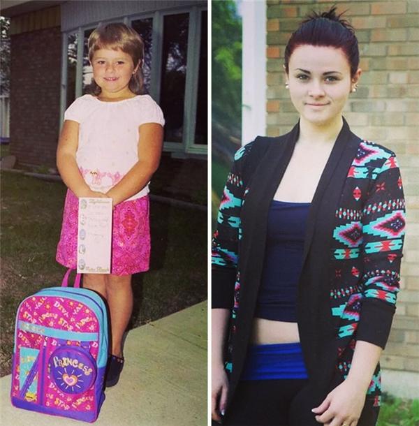 """Ngày trước là nguyên """"cô búp bê"""" hồng từ quần áo đến ba lô còn giờ đây cô nàng đã ăn mặc sành điệu và thời trang hơn hẳn."""