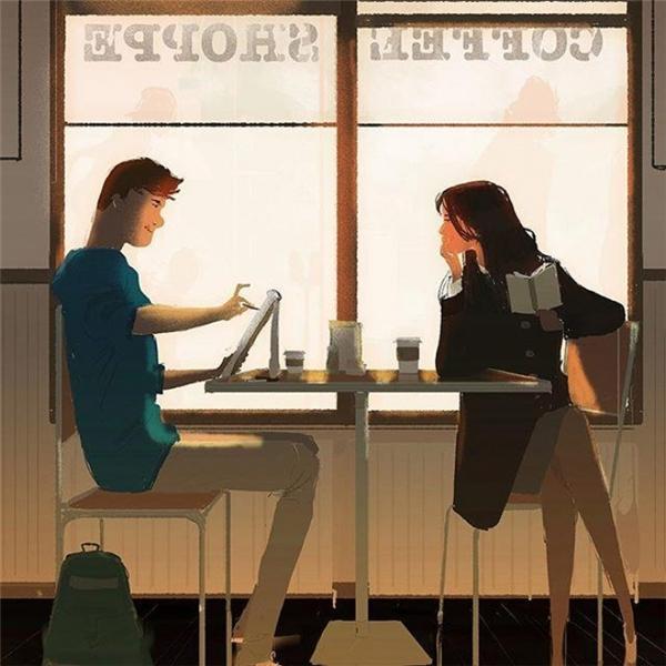 Thời gian yên bình đôi mình chia sẻ ly cafe bên nhau, rồi chợt phát hiện ra cảnh sắc dưới nét bút anh vẽ lại là khuôn mặt em.