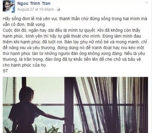 Dng trạng thái buồn bã của Ngọc Trinh khiến cư dân mạng đặt nghi vấn chuyện tình cảm của cô đang rạn nứt. - Tin sao Viet - Tin tuc sao Viet - Scandal sao Viet - Tin tuc cua Sao - Tin cua Sao