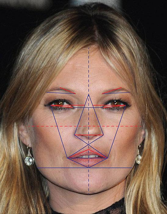 Gương mặt của Kate Moss có đường nét đạt 91, 06% so với công thức tỉ lệ vàng của Gillian Da Silva.