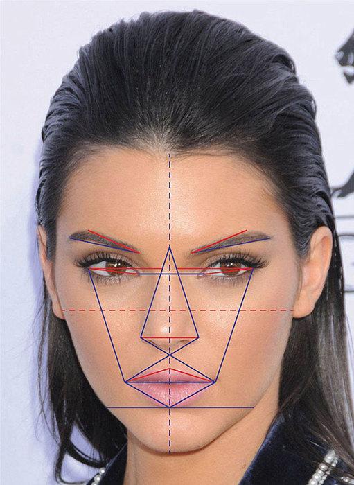 Kendall Jenner cũng nằm trong bảng xếp hạng những ngôi sao có gương mặt hoàn hảo cùng với chị gái Kim với tỉ lệ đạt 90,18%.