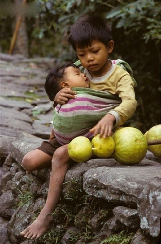 Một cậu bécòn rất nhỏ tuổi nhưng đã biết địu em và nhẹ nhàng hát ru cho em ngủ. Cái ôm tình thânlan tỏa yêu thương và câu hát như dòng sữa lànhnuôi dưỡng tâm hồn trẻ thơ.
