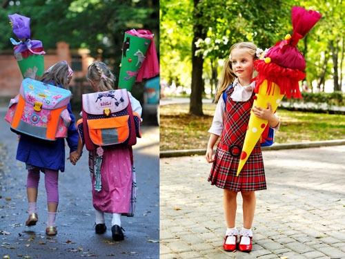 """Những chiếc """"cặp sách"""" đặc biệt đựng đầy kẹo của trẻ em Đức trong ngày đầu tiên đi học."""