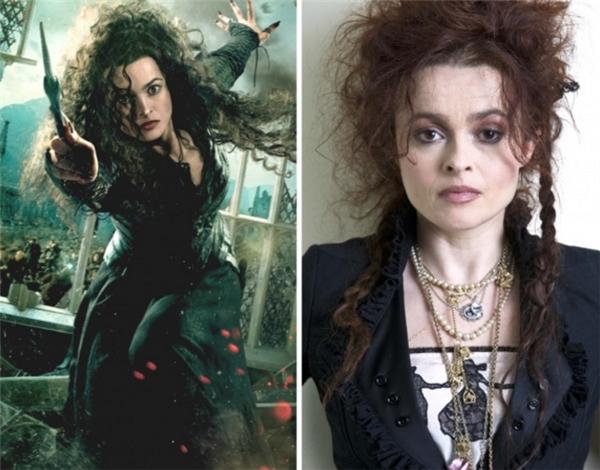 """Vai Bellatrix Lestrangetrong Harry Potter có thể nói là """"sao y bản chánh"""" củaHelena Bonham Carterngoài đời, với tính cách điên rồ và lập dị sẵn có, nữ diễn viên đã thể hiện rất thành công vai diễn Tử thần thực tử của mình."""