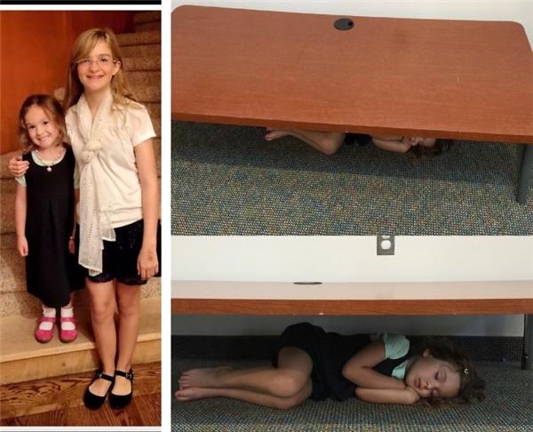 Người mẹ của cô bé này đã rất vất vả mới tìm thấy cô con gái đang ngủ ngon lành dưới gầm ghế sau ngày đến lớp đầu tiên.