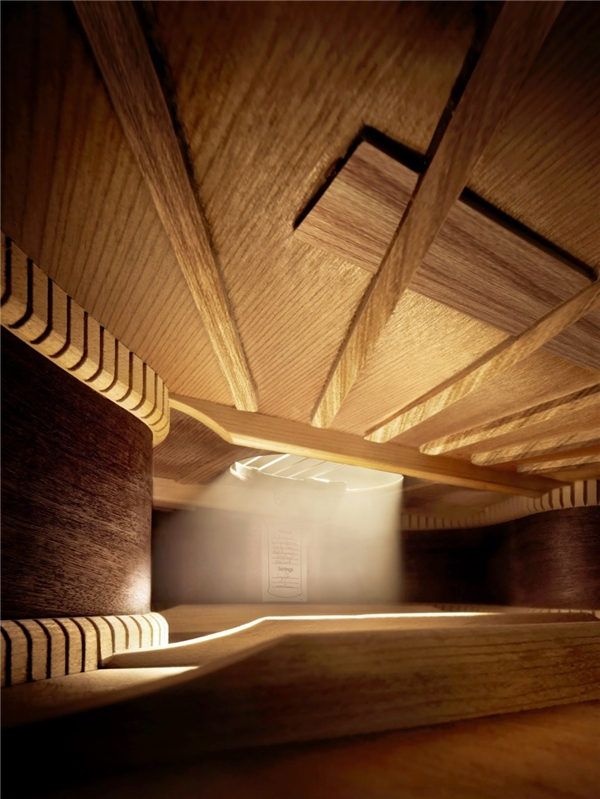 Khung cảnh huyền ảo tựa mê cung mà bạn đang nhìn thấy thực chất là bên trong một chiếc đàn ghi ta.