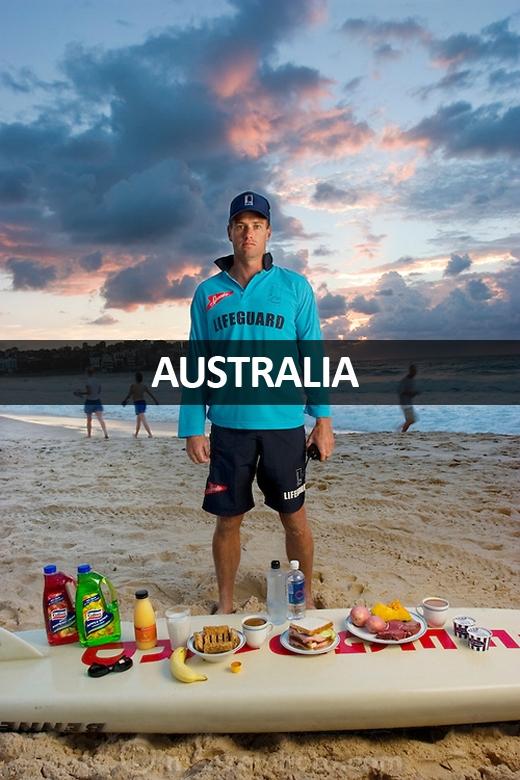 Bruce Hopkins (35 tuổi), nhân viên cứu hộ tại bãi biển Bondi, Sydney, New South Whales, Australia: 3.700 calo mỗi ngày. Anh ăn chủ yếu là thức ăn nhanh.