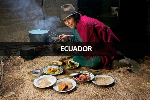 Maria Ermelinda Ayme Sichigalo (37 tuổi), nông dân, bà mẹ 8 con tại làng Tingo, miền trung Andes, Ecuador: 3.800 calo mỗi ngày