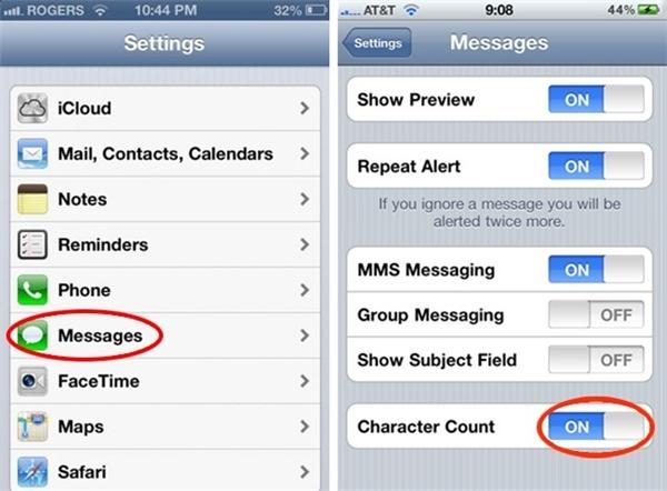 Hiển thị số kí tự trong một tin nhắn: Settings => Messages => Character Count.