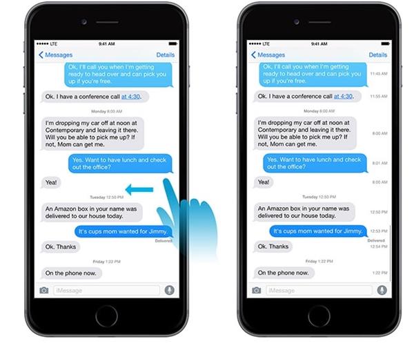 Xem thời gian gửi tin nhắn trong iMessage:đặt ngón tay vào dòng tin nhắn bạn muốn xem thời gian được gửi rồi trượt qua bên trái