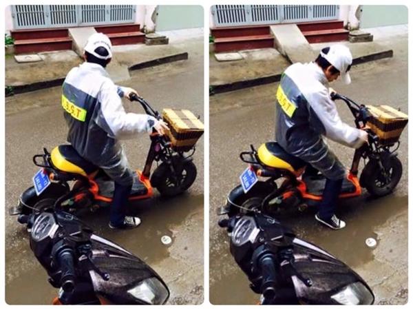 Hình ảnhH.Đ.Cđi xe đạp điện mặc áo mưa có dán chữC.S.G.T (viết tắt của Cảnh sát giao thông).