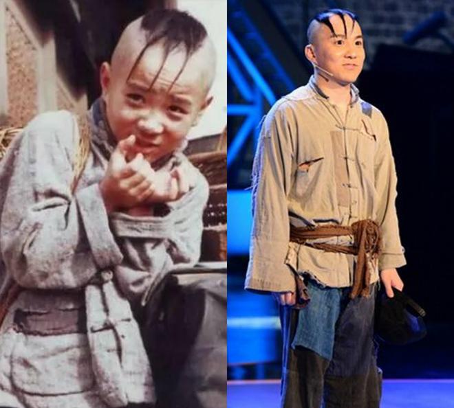 Mạnh Trí Siêu trong vai Tam Mao ngày ấy và khi xuất hiện trong một vở kịch. Ảnh: Baidu.