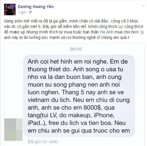 """Nội dung tin nhắn """"gạ tình"""" Dương Hoàng Yến đăng tải. - Tin sao Viet - Tin tuc sao Viet - Scandal sao Viet - Tin tuc cua Sao - Tin cua Sao"""