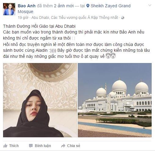 Không lâu sau khi bức ảnh của Hồ Quang Hiếu được đăng tải, nữ ca sĩ Bảo Anh cũng chia sẻ một vài hình ảnh trên trang cá nhân cho thấy cô cũng đang du lịch ở Dubai. - Tin sao Viet - Tin tuc sao Viet - Scandal sao Viet - Tin tuc cua Sao - Tin cua Sao