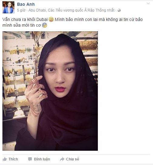 Giọng ca Và Em Đã Biết Mình Yêu tỏ ra hào hứng khi diện trang phục truyền thống của phụ nữ đạo Hồi. Sự trùng hợp đến khó tin giữa Bảo Anh và Hồ Quang Hiếu khi cùng xuất hiện tại Dubai thời điểm này khiến không ítngười tin rằng cặp đôi đã bí mật hẹn hò. - Tin sao Viet - Tin tuc sao Viet - Scandal sao Viet - Tin tuc cua Sao - Tin cua Sao