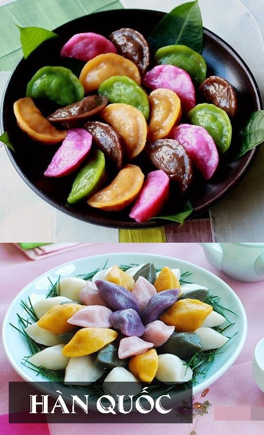 Những chiếc bánhSongpyeon được đặtlênmột lớp lá thông xanh để giữ nguyên hình dạng và tạo hương vị lạ.