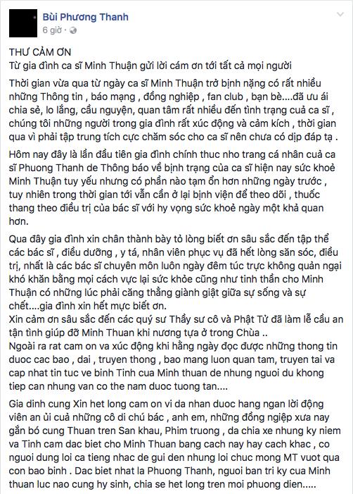 Gia đình Minh Thuận lên tiếng về tình hình sức khoẻ của nam ca sĩ - Tin sao Viet - Tin tuc sao Viet - Scandal sao Viet - Tin tuc cua Sao - Tin cua Sao