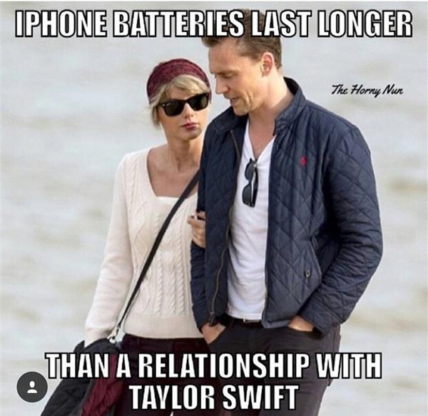 Pin của iPhone còn bền hơn chuyện tình cảm của Taylor Swift.