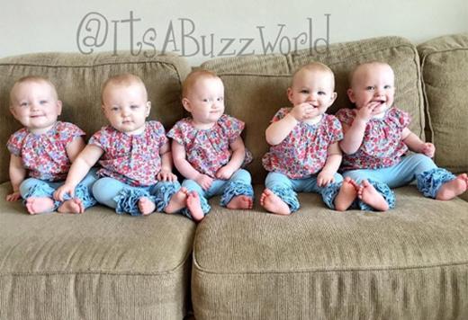 Ca sinh 5 toàn bé gái diễn ra tại bệnh viện Houston's Woman ở Texas và đã lập kỷ lục mới là ca sinh năm toàn bé gái đầu tiên tại Mỹ và cũng là đầu tiên trên thế giới trong vòng 46 năm qua.