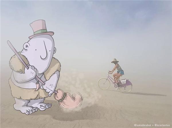 Quét luôn bà chị đi xe đạp nhé. (Ảnh: Instagram)
