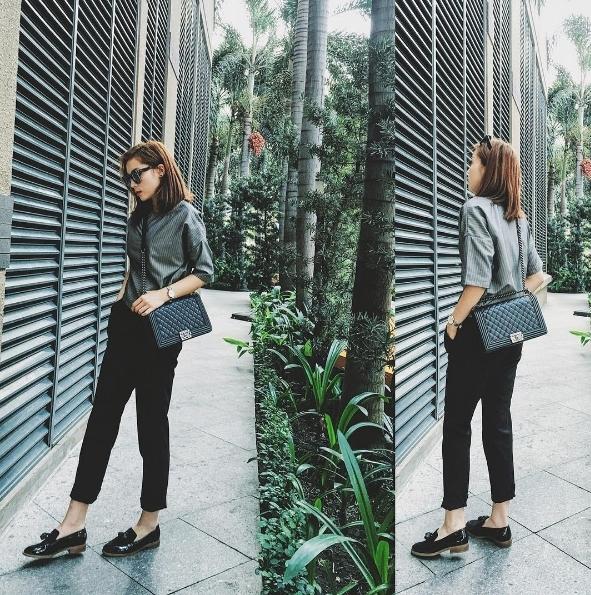 Mix áo với quần lửng, Kỳ Duyên vô cùng khôn khéo khi lựa chọn loại giày đế bằng, hoặc giày cao gót có độ cao từ 3-5 cm, tránh gây cảm giác hầm hố, cao lênh khênh. - Tin sao Viet - Tin tuc sao Viet - Scandal sao Viet - Tin tuc cua Sao - Tin cua Sao
