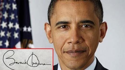 Chữ kícủa vị Tổng thống thứ 44 của Mỹ đều viết in hoa ở chữ cái đầu, rõ ràng, rành mạch - ông là người rất tự tin và cẩn trọng.