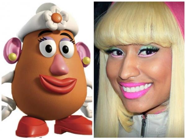 """Cứ tưởng cô nàng Nicki Minaj là """"hàng độc nhất vô nhị"""", hóa ra cũng len lén bắt chước Mrs. Potato Head trong Toy Story đấy thôi. (Ảnh: Bright Side)"""
