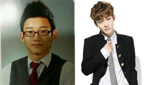 """Trông Chen (EXO) ngày xưa đúng chuẩn """"thanh niên nghiêm túc"""", chắc hẳn thành tích học tập của anh cũng khiến các bạn """"ngửi khói"""". Cũng với bộ đồng phục ấy, hiện tại nam thần tượng đã cá tính hơn rất nhiều, lại còn thừa sức """"đốn tim"""" fan nhờ chất giọng ngọt ngào."""