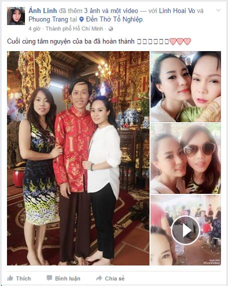 Trên trang cá nhân của nữ ca sĩ Ánh Linh - con gái nuôi Hoài Linh cũng vừa đăng tải bức ảnh chụp cùng nam danh hài trong buổi lễ Hô thần nhập tượng tại nhà thờ cách đây chưa lâu. - Tin sao Viet - Tin tuc sao Viet - Scandal sao Viet - Tin tuc cua Sao - Tin cua Sao