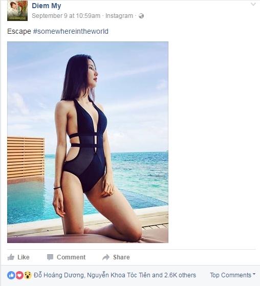 Không khó để nhận ra khung cảnh bãi biển trong vắt chính là hòn đảo Maldives nổi tiếng.Ảnh: Facebook Diễm My. - Tin sao Viet - Tin tuc sao Viet - Scandal sao Viet - Tin tuc cua Sao - Tin cua Sao