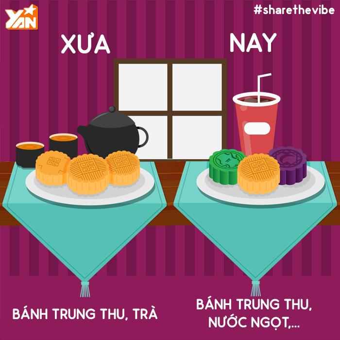 Thức uống có gas cũng dần thay thế cho thói quen nhâm nhi những tách trà nóng cùng chiếc bánh trung thu thơm ngon.