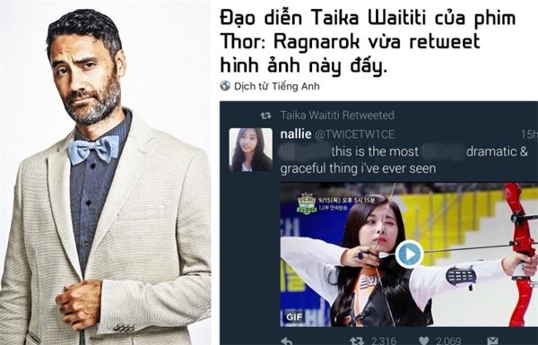 ...và còn được đạo diễn Taika Waititi đăng lại trên trang Twitter của mình.