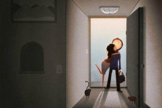 Trước khi đi làm hãy ôm nhau một cái để chào tạm biệt.