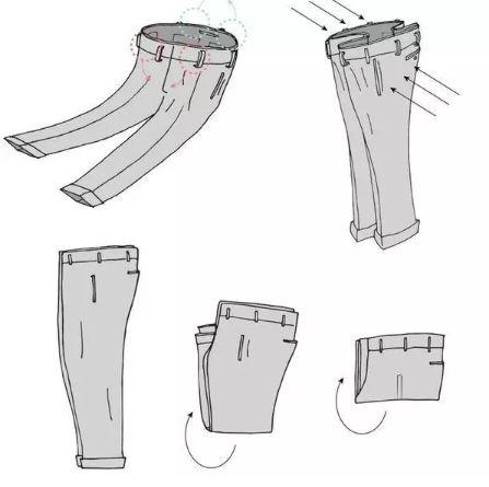 Để gấp quần có thẩm mỹvà tiết kiệm được không gian tủ, cách đơn giản nhất chính là gấp một khe chính giữa hai ống, sau đó xếp chúng theo kiểu thông thường là được.