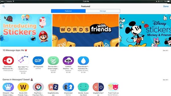 Kho ứng dụng dành riêng cho iMessage trên iOS 10. (Ảnh: internet)