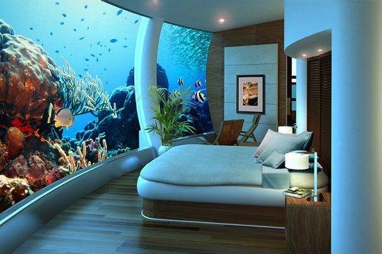 Nhờ vậy mà du khách có thể tha hồ ngắm lòng đại dương kì ảo từ căn phòng của mình.(Ảnh: Internet)