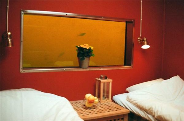 Cho đến khi họ xuống căn phòng nằm ẩn bên dưới, được tận mắt chứng kiến những đàn cá tung tăng bơi lội thì mới thật sự bị thuyết phục. Căn phòng nhỏ nhắn này chỉ có 2 giường đơn và1 cái bàn.(Ảnh: Internet)