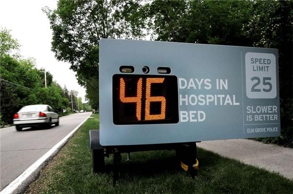 Cục cảnh sát giao thông: Con số trên bảng hiển thị số ngày trong bệnh viện. Càng chậm càng tốt.