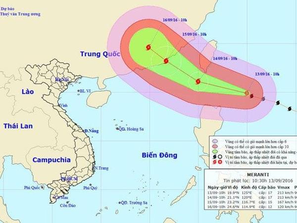 Siêu bão quốc tế mang tênMeranti dự báo đang tiến vào vùng biển Đông với sức gió giật cấp 17. (Ảnh:Trung tâm Dự báo Khí tượng Thủy văn Trung ương)