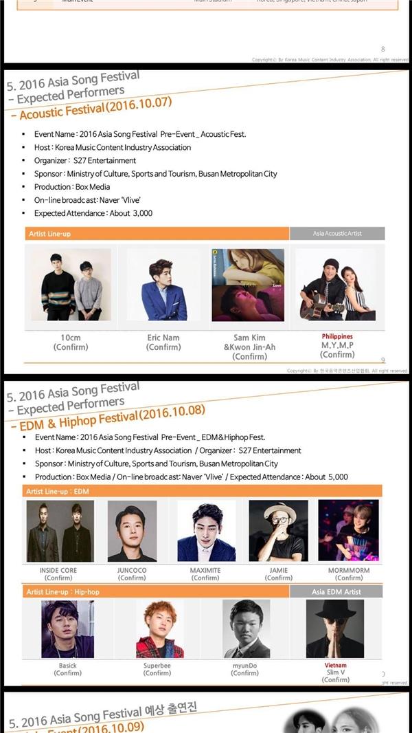 Hình ảnh của Slim V cũng đã xuất hiện trên các trang, tài liệu giới thiệu về Asia Song Festival của Ban tổ chức.