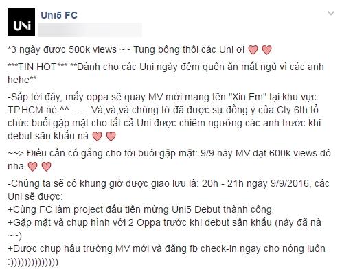 """Khác với """"truyền thống"""" giữ bí mật từ trước đến nay, lần này, Ông Cao Thắng bất ngờ """"mở cửa"""" để fan được khám phá những cảnh quay hậu trường MV mới của Uni5."""