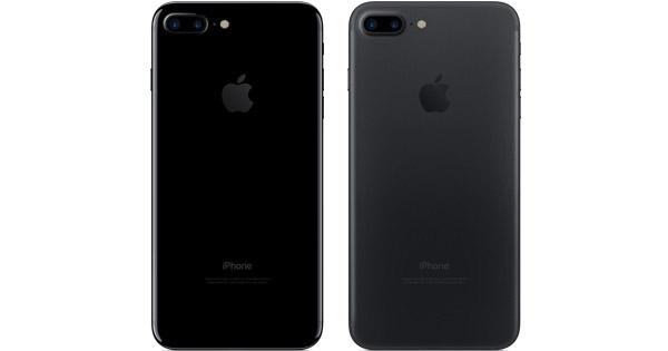 Hai mẫu màu đen bóng (trái) và đen nhám trên iPhone 7 Plus. (Ảnh: internet)